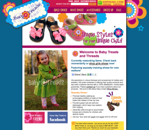 Retail childrens shoe website
