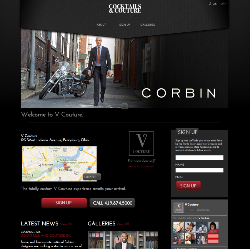 Website for Couture Mens Clothing Retail