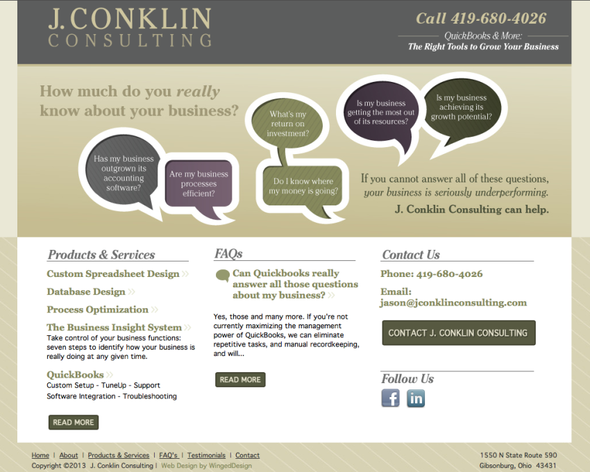 J Conklin Consulting Website Toledo Ohio