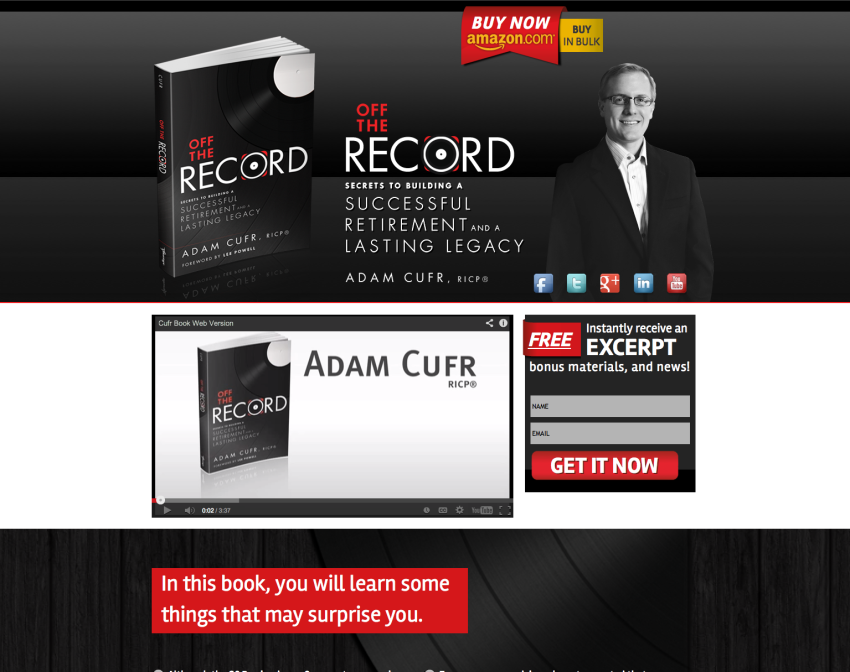 Adam Cufr Off The Record Retirement Website